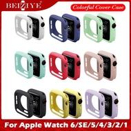 เคส สําหรับ Apple Watch ขนาด 38 มม. 40 มม. 42 มม. 44 มม. i Watch Series SE 6 5 4 3 2 1หุ้มซิลิโคนสีสันอ่อนสำหรับ applewatch se 6 5 4 เคสซิลิโคนสีแคนดี้ Colorful Cover Protector