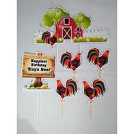 Rooster Theme Customized Cake Topper