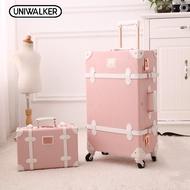 """Uniwalker 2 in 1 ชุดกระเป๋าเดินทาง 13 นิ้วกระเป๋าเดินทางกรณีเครื่องสำอางขนาดเล็กสดน่ารักสากลล้อกรณีรถเข็นเดินทางขึ้นเครื่องรหัสผ่านกล่อง (13 """"+ 20""""/13 """"+ 22""""/13 """"+ 24""""/13 """"+ 26"""")"""