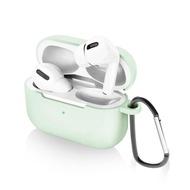【iDeatry】AirPods Pro 充電盒保護套 矽膠套 輕薄可水洗 無線耳機收納盒 軟套 皮套 掛勾款-粉綠(耳機套)