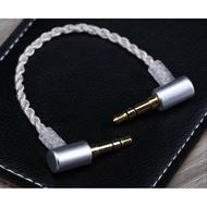 川木  現貨 彎頭 3.5mm音訊線 短 aux公對公 對錄線 鍍銀升級 耳放連接線 車用 音響線 彎插
