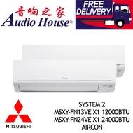 MITSUBISHI SYSTEM 2 INVERTER MSXY-FN13VE X1 12000BTU+ MSXY-FN24VE X1 24000BTU AIRCON