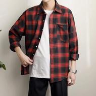 FINDSENSE MD 時尚 男 韓國 休閒 寬鬆 黑紅藍三色格子 襯衣外套 格子襯衫 長袖襯衫
