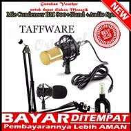Paket recording smule mic condenser BM-8000 Original TAFFWARE Full Set