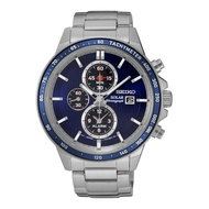 SEIKO SOLAR SSC431P1 STAINLESS STEEL SILVER BLUE MENS WATCH