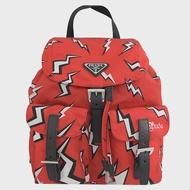 【PRADA 普拉達】限定款 閃電經典LOGO尼龍束口翻蓋後背包(紅)