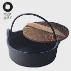 【盛榮堂】南部鐵器-單柄提把鑄鐵平底湯鍋/個人小火鍋(日本製)燒杉木蓋18cm