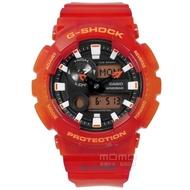 【CASIO 卡西歐】G-SHOCK 卡西歐極限衝浪雙顯電子半透明漸層橡膠手錶 橘紅色 51mm(GAX-100MSA-4A)