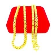 สร้อยคอทอง 2บาท ลายบล็อกคู่ ตัดลาย ยิงทราย ยาว 24นิ้ว สินค้าขายดี ชุบเศษทองเยาวราช ชุบทอง100% งานฝีมือจากช่างเยาวราช แถมฟรีตลับใส่ทอง