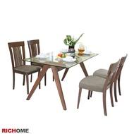 凱森強化玻璃實木餐桌椅組(一桌四椅)(2色) 【TA406_CH1020】RICHOME