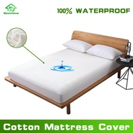 Waterproof Mattress Cover Cotton Terry Mattress Protector Bed Bug Proof Bed Cover Bed Topper Foams Bed Single/Double/Full/Queen/King Size