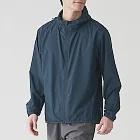 [MUJI無印良品]男防潑水防風聚酯纖維風衣外套S深藍