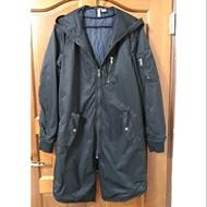 H&M 長版 飛行 外套 大衣 軍裝 夾克 黑色 (約9成新)