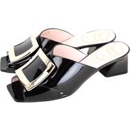Roger Vivier Tres Vivier Mule 方框金屬漆皮粗跟涼鞋(黑色)