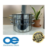 Large 32cm 3 Tier Steamer Pot with Tempered Glass Stainless Steel Wok