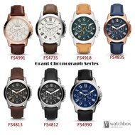 Original Fossil Grant Chronograph Quartz  Fossil Men Watch Leather 44mm