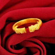 ◐cincin emas◑jewelry brass wedding 916 gold auspicious cloud pattern ring