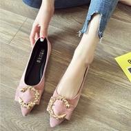 moyan รองเท้าแตะหญิง รองเท้าคัชชูดำ รองเท้าผู้หญิงในช่วงฤดูร้อนปี 2019 ใหม่ป่าปากตื้นชี้รองเท้าแบนผู้หญิงรองเท้าผู้ชายขี้เกียจด้านล่างนุ่ม