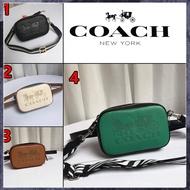coach大logo單層 寬背帶小側背包 腰包 附兩條背帶 拼色相機包 75907 現貨