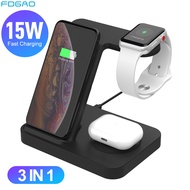 3 in 1 Wireless CHARGING Station สำหรับ Samsung Galaxy นาฬิกา/Buds/S20/S10 Fast Qi Charger สำหรับ iPhone 11 XS Apple iWatch Airpods Pro