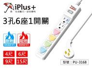 【iPlus+】保護傘 1切6座3P延長線 3孔6座1開關 15A 新安規 扁插頭 防塵蓋插座 PU-3168