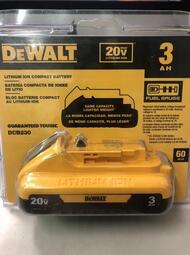 ~工具小妹~全新 新款 DEWALT 得偉 18V/ 20V DCB230 3.0A 鋰電池 帶電源顯示