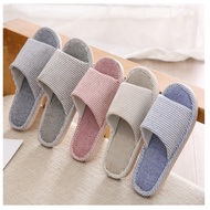 Women Men Soft Comfortable Indoor Home Hotel Slipper Striped Slippers Shoes