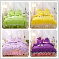 ins公主風 80支天絲蕾絲 純色床包組 素色床單被套枕套 專櫃品質 浪漫  雙人床裙組 雙人加大床包 蕾絲床包