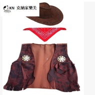 cosplay 萬圣節演出服裝成人兒童美國西部牛仔馬夾 帽子 方巾配件