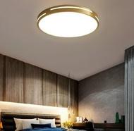 十畝地 - 美式金色圓形全銅吸頂燈含LED三色光(金色側發光款)直徑30cm-24W