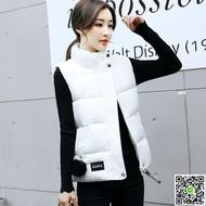 新款小馬甲女秋冬裝韓范短款黑色羽絨棉衣服白色學生背心外套 薇薇
