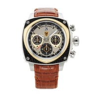 【Lamborghini 藍寶堅尼】COMPETITION計時機械錶TL017-金圈皮帶/45mm