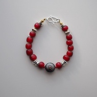 Bracelet手鏈: The Olinda South Bracelet - BU018 - 深紅色,蔓越莓紅,925純銀,日本扣,復古,純銀珠,非洲貿易珠,禮物,限量手工,飾品,男女款