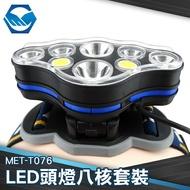 LED頭燈八核 LED頭燈八核套裝大全配  鋰電*2+充電線 MET-T076