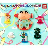 全套6款【日本正版】蠟筆小新 塗鴉公仔 P2 扭蛋 轉蛋 野原新之助 動感超人 康達姆機器人 BANDAI - 502296