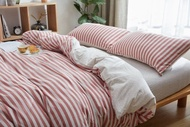 日式天竺棉系列~MUJI無印良品風 純棉簡約棕紅色中條紋雙人床包被套4件組-吸汗/透氣/舒適~PicHome 挑 家居
