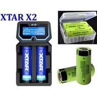 【雜貨鋪】松下 26650*2+XTAR/X2 容量顯示 過放修復 18650鋰電池充電器 AC/USB雙輸入 2A快充