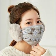 冬季新款女士時尚蕾絲護耳二合一保暖口罩 甜美防風騎行騎車口罩防风保暖口罩防尘口罩批发