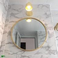 歐式鐵藝壁掛鏡圓形鏡子化妝鏡試衣鏡浴室鏡裝飾鏡掛鏡圓鏡創意鏡