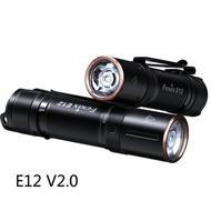 Fenix E12 V2.0 LEDกันน้ำEDC Handheldไฟฉายพวงกุญแจไฟฉายกลางแจ้งสีดำ