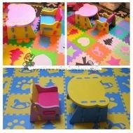 寶貝屋 超商限一組普普熊 兒童遊戲 桌子+椅子 EVA 桌椅墊 寶寶桌椅 DIY兒童學習桌椅整套 餐椅 巧拼EVA桌椅組
