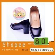 รองเท้าคัชชูหญิง  ความสูง 2 นิ้ว สีดำ รหัส 225รองเท้าคัดชู รองเท้าคัทชู หนัง หญิง ส้นกลมสูง องเท้าดำ รองเท้าชุมชน รองเท้าพยาบาล รองเท้าส้นเตี้ยหัวตัด แบบเปิดส้น รองเท้า คัชชูเจลลี่ รองเท้าผู้หญิง สวย นุ่มสบายเท้า