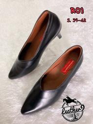 รองเท้าหนังแท้หญิง รองเท้าคัชชูทำงาน รุ่น R01 สีดำ (ส่งฟรี มีรับประกัน)
