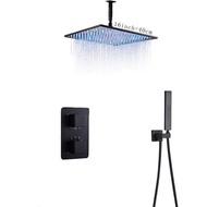 LANGYO สีดำ LEDBrass ควบคุมอุณหภูมิอาบน้ำฝักบัวห้องน้ำชุดผสมวาล์ว2/3ทาง16นิ้วเหล็กกล้าไร้สนิมผนังประเภทติดตั้งหัวฝักบัว