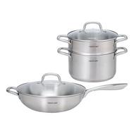 【NEOFLAM】不銹鋼316鍋具組合 (32cm炒鍋+湯鍋24cm+蒸籠)
