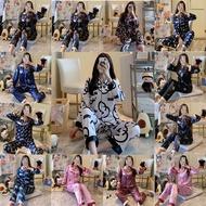 Borong Women Satin Silk Pyjamas Long Sleeve Pajamas Set Home Sleepwear Baju Tidur Wanita Plus Size