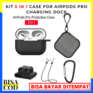 KIT 5 IN 1 CASE FOR AIRPODS PRO CHARGING DOCK WITH CARABINER LOST STRAP HARD CASE - BLACK / Cashing Airpods / Pelindung Airpods / Case Airpods / Aksesoris Airpods / Kantong Airpods /