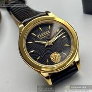VERSUS VERSACE手錶,編號VV00283,34mm金色圓形精鋼錶殼,黑色幾何造型錶面,深黑色真皮皮革錶帶款