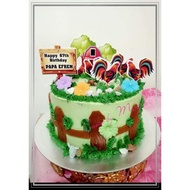 Happy Birthday Cake Topper Rooster Theme