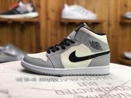 Nike Air Jordan 1 Mid Smoke Grey running shoes Couple shoes youth Wild genuine